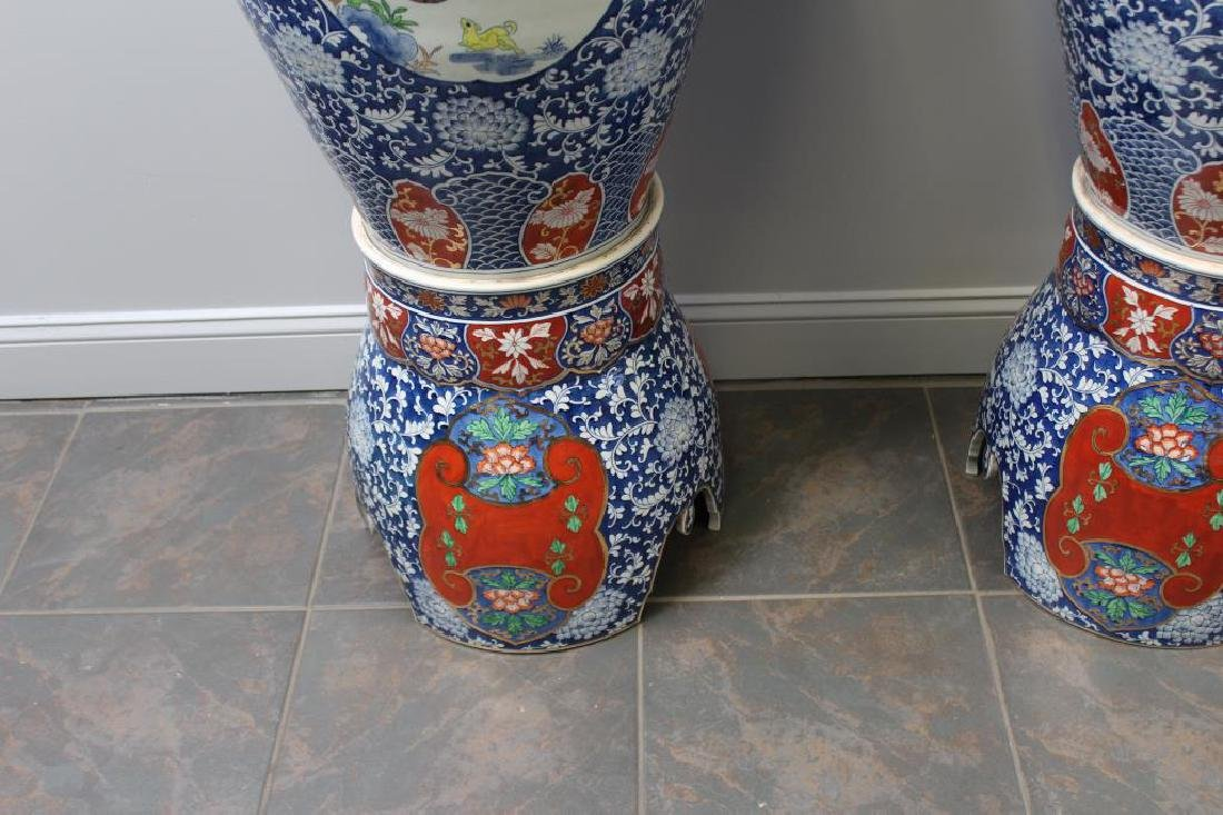 Pair Of Fine Quality Palace Size Enamel Decorated - 4
