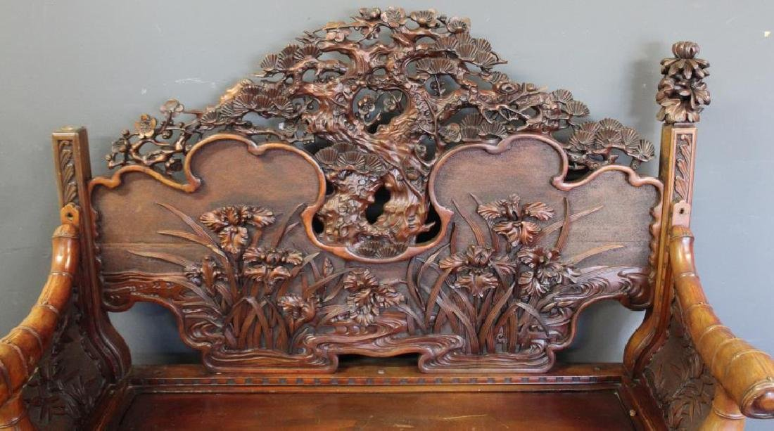 Highly Carved Wood Asian Settee - 2