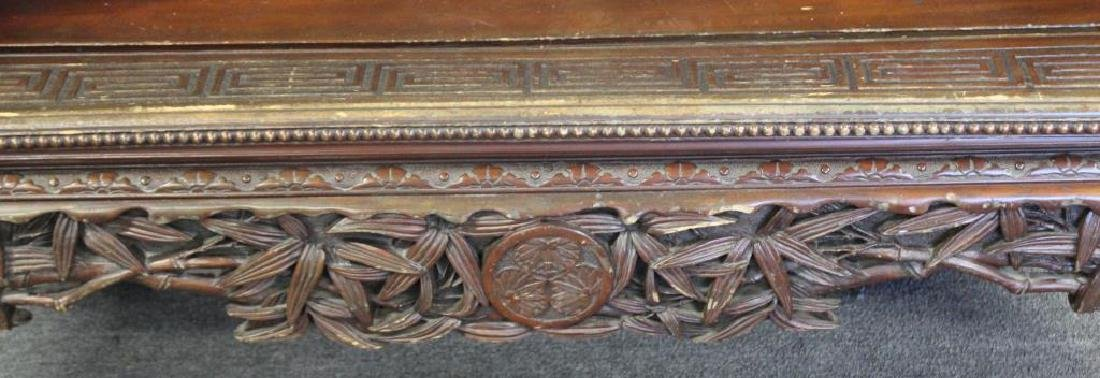 Highly Carved Wood Asian Settee - 3