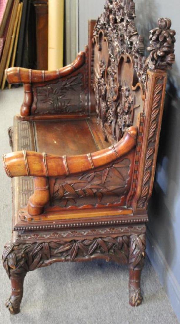 Highly Carved Wood Asian Settee - 5