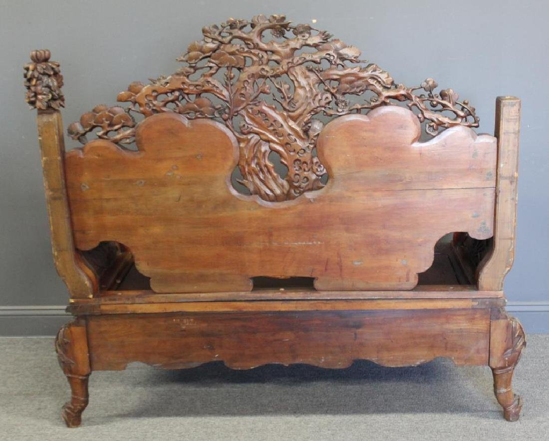 Highly Carved Wood Asian Settee - 6