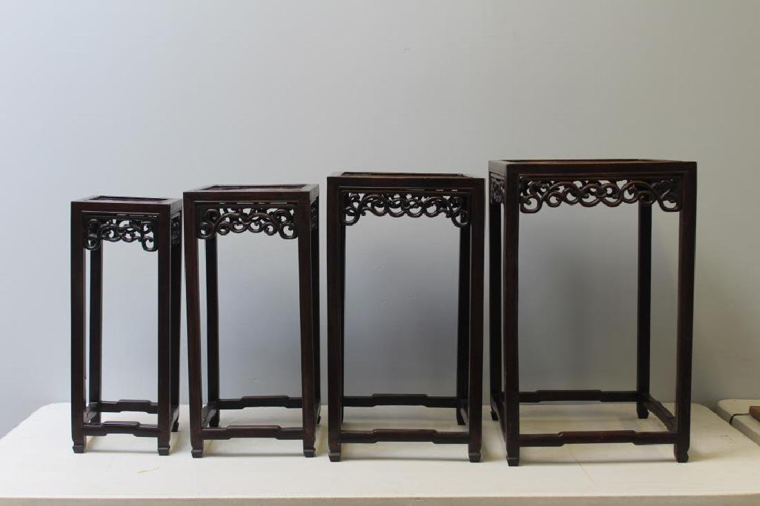 Antique Chinese Hardwood Nesting Tables Together
