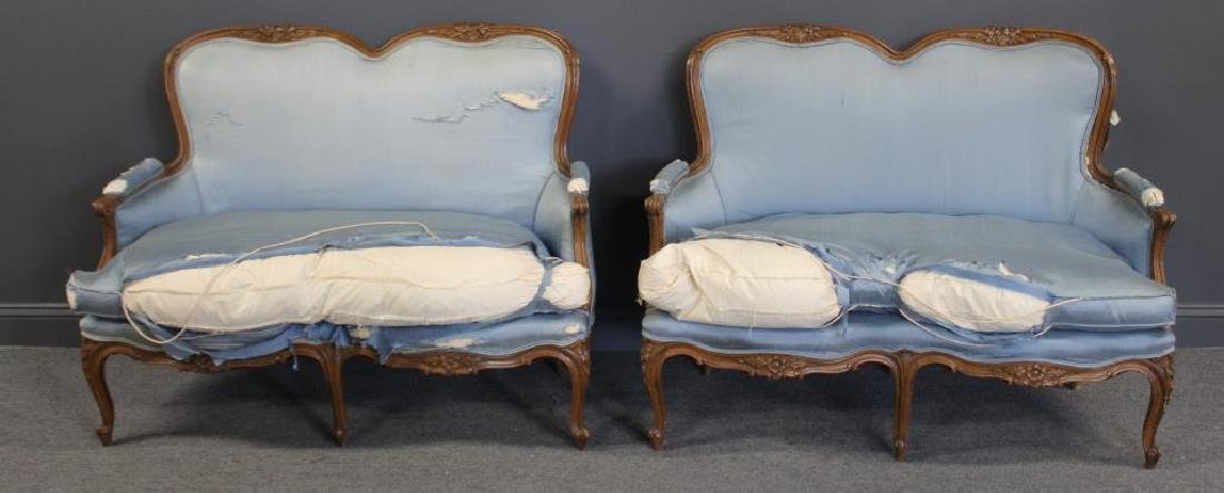 Pair Of Antique Louis XV Style Down Filled Settees