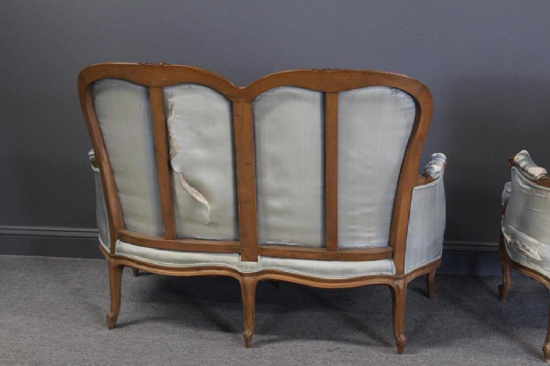 Pair Of Antique Louis XV Style Down Filled Settees - 3