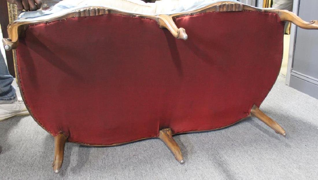 Pair Of Antique Louis XV Style Down Filled Settees - 5