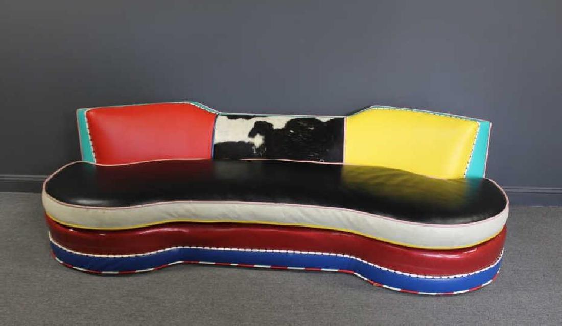 Vintage Decorator Patchwork Leather Sofa.