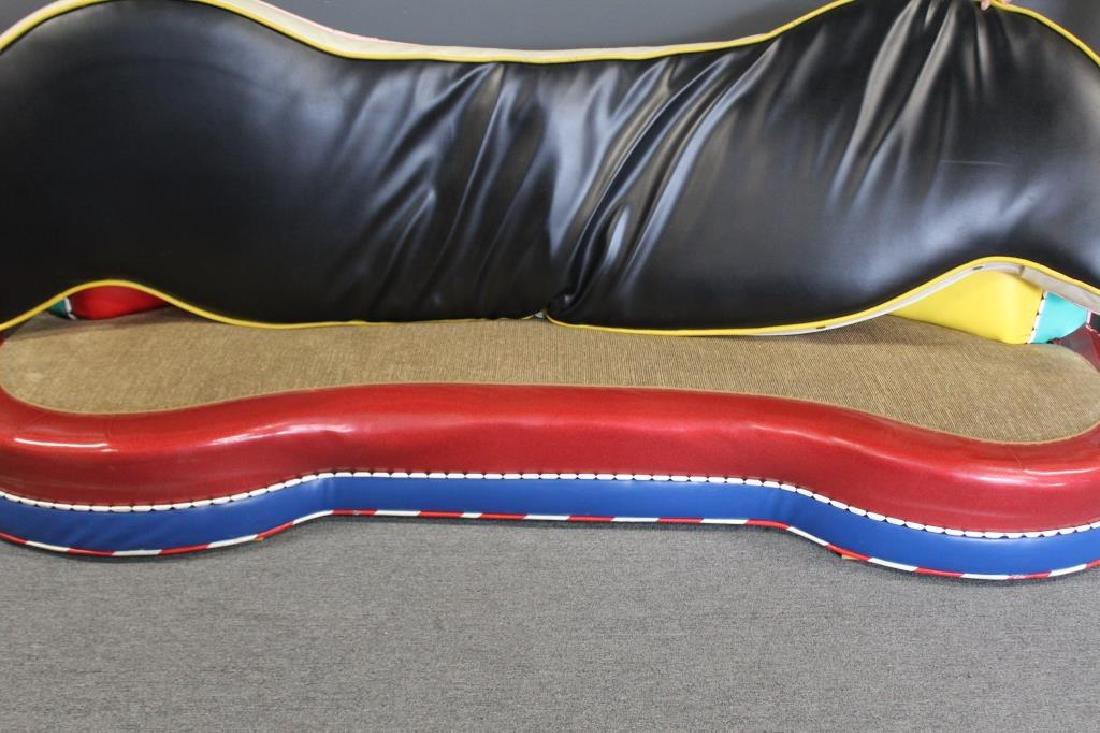 Vintage Decorator Patchwork Leather Sofa. - 2