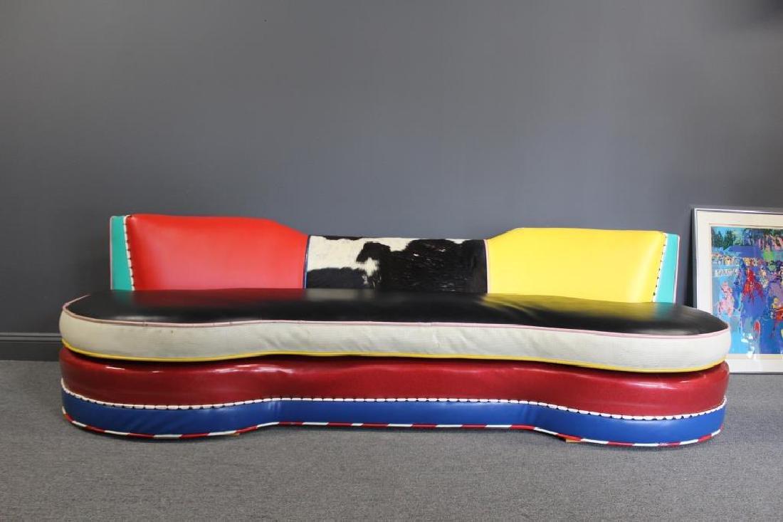 Vintage Decorator Patchwork Leather Sofa. - 3
