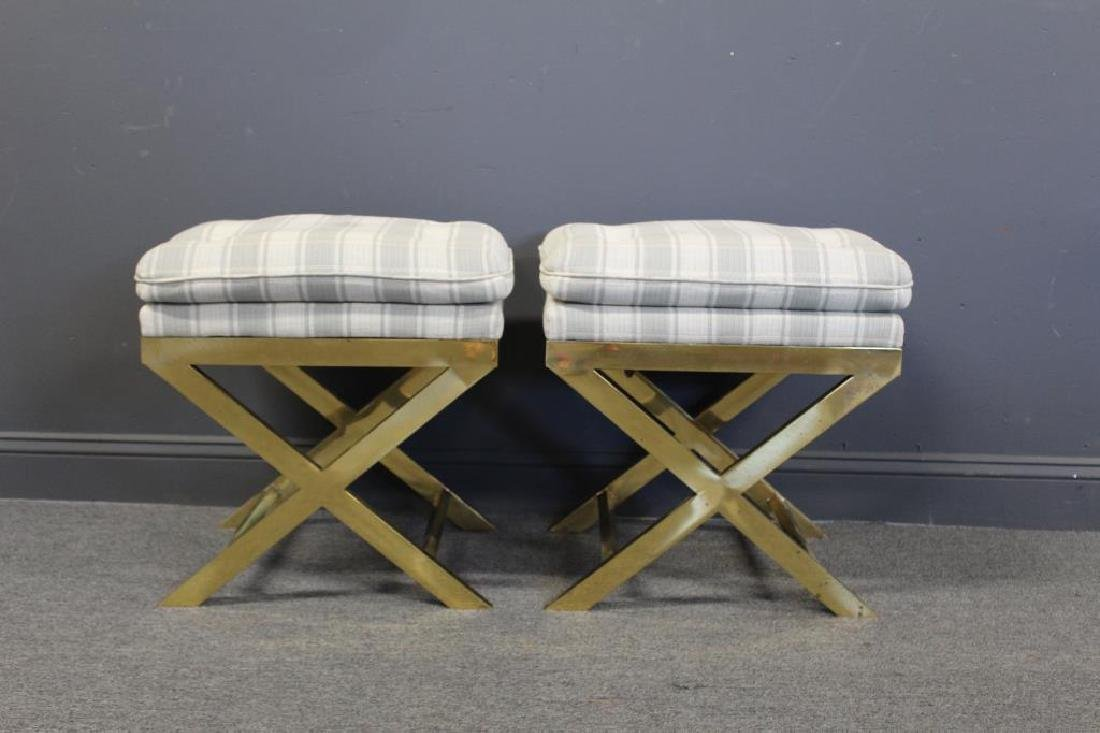 Pair Of X Form  brass stools With Cushions