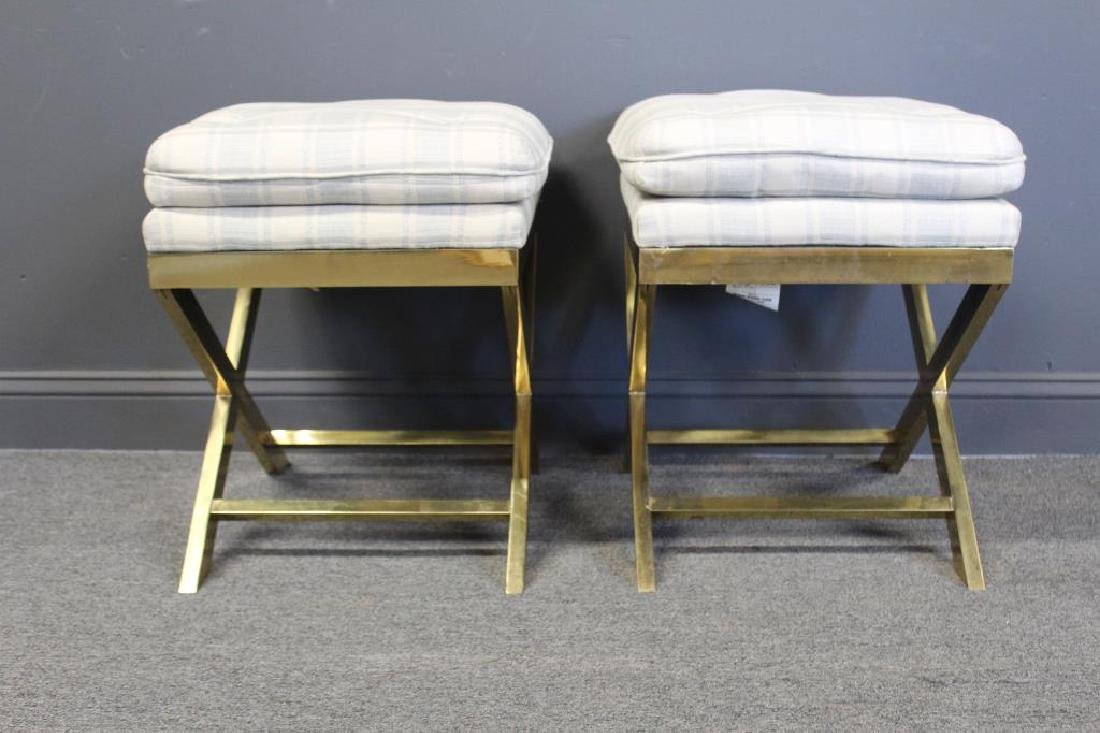 Pair Of X Form  brass stools With Cushions - 2