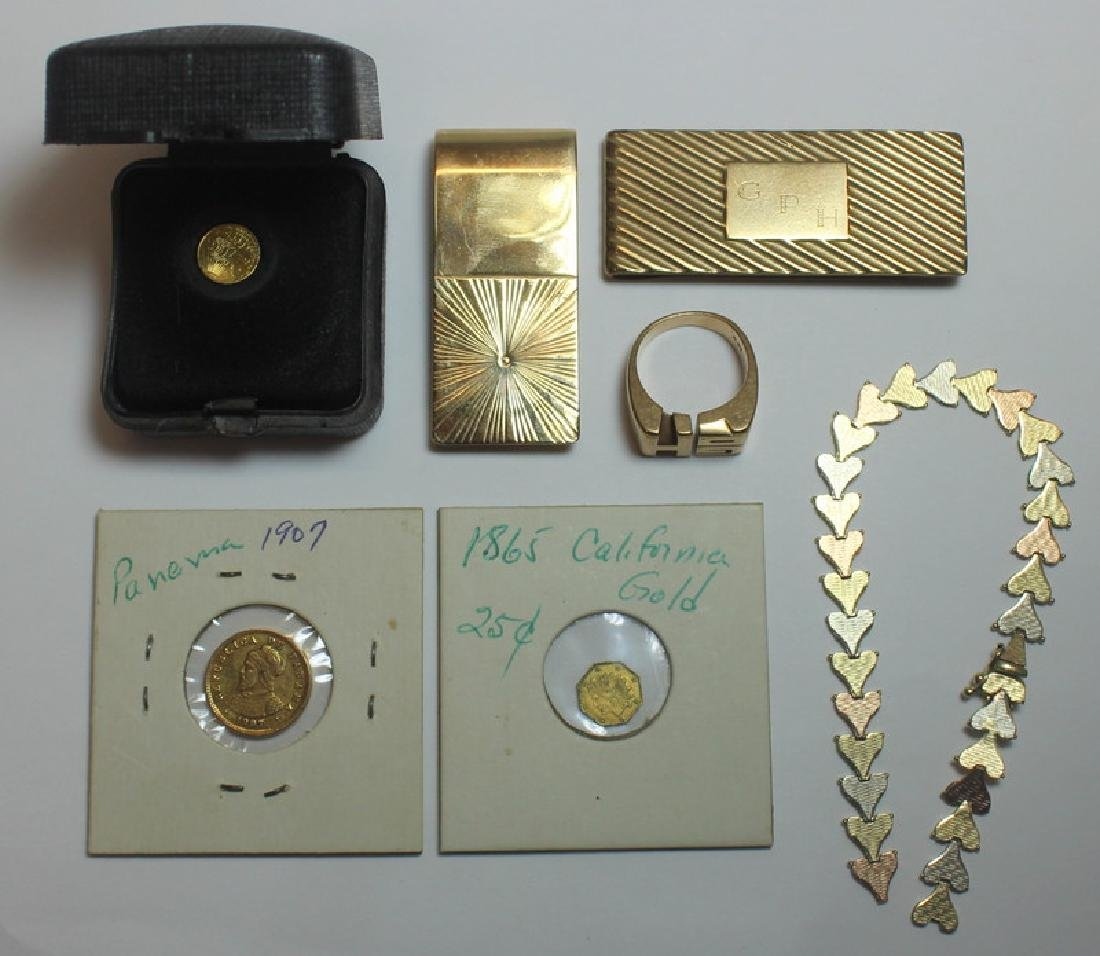 JEWELRY & COINS. Assorted Grouping of Gold Jewelry