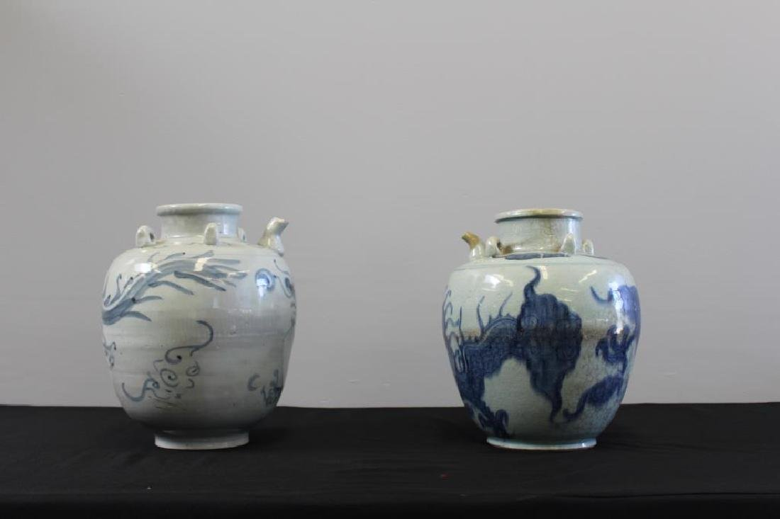 Pair Of Chinese Wine Jars