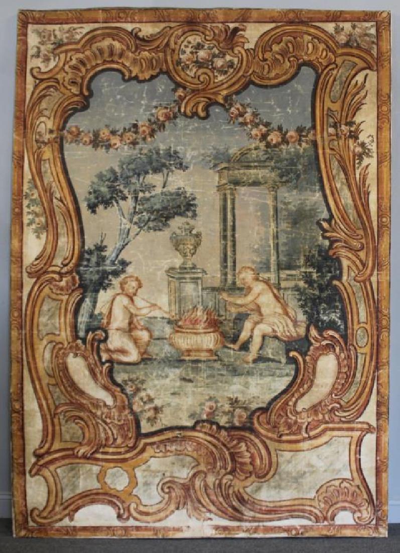 Large Antique Framed Tapestry.