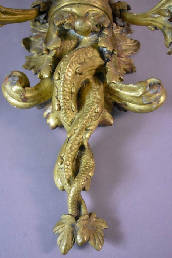 Large 19 Century Gilt Bronze Figural Sconce. - 5