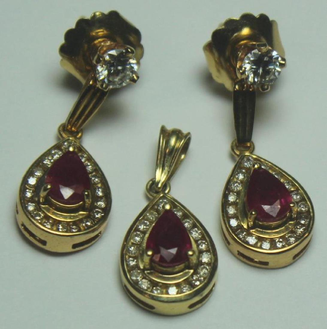 JEWELRY. Gold, Ruby, and Garnet Jewelry Grouping. - 4