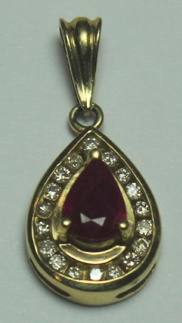 JEWELRY. Gold, Ruby, and Garnet Jewelry Grouping. - 5