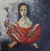 MERRIN, Edward. Oil on Board. Woman with