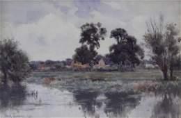 THOMPSON, Frank. Watercolor. Landscape. 1904.