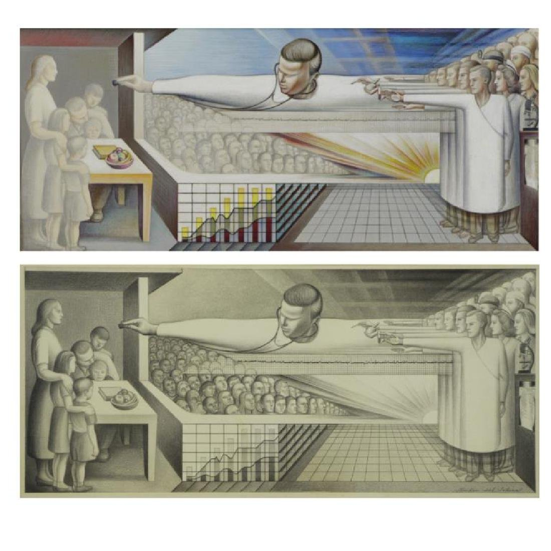 """TOBIAS, Abraham. """"The Clinic"""" 1954. Two (2) Works."""