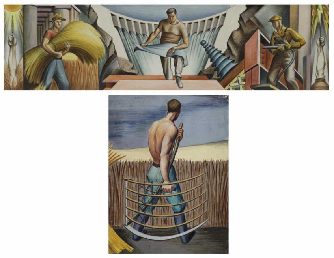 TOBIAS, Abraham. Two Mural Studies. Casein on