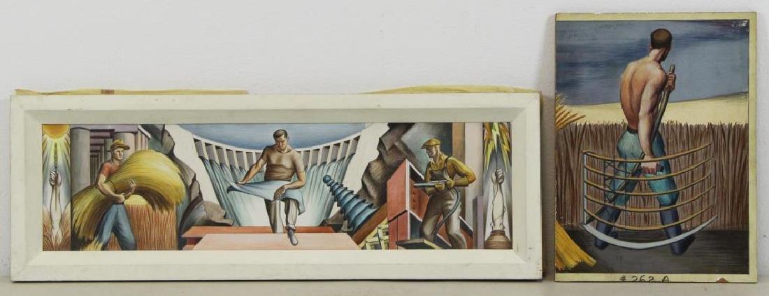 TOBIAS, Abraham. Two Mural Studies. Casein on - 2