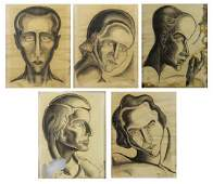 TOBIAS, Abraham. Three Charcoal Drawings of Heads