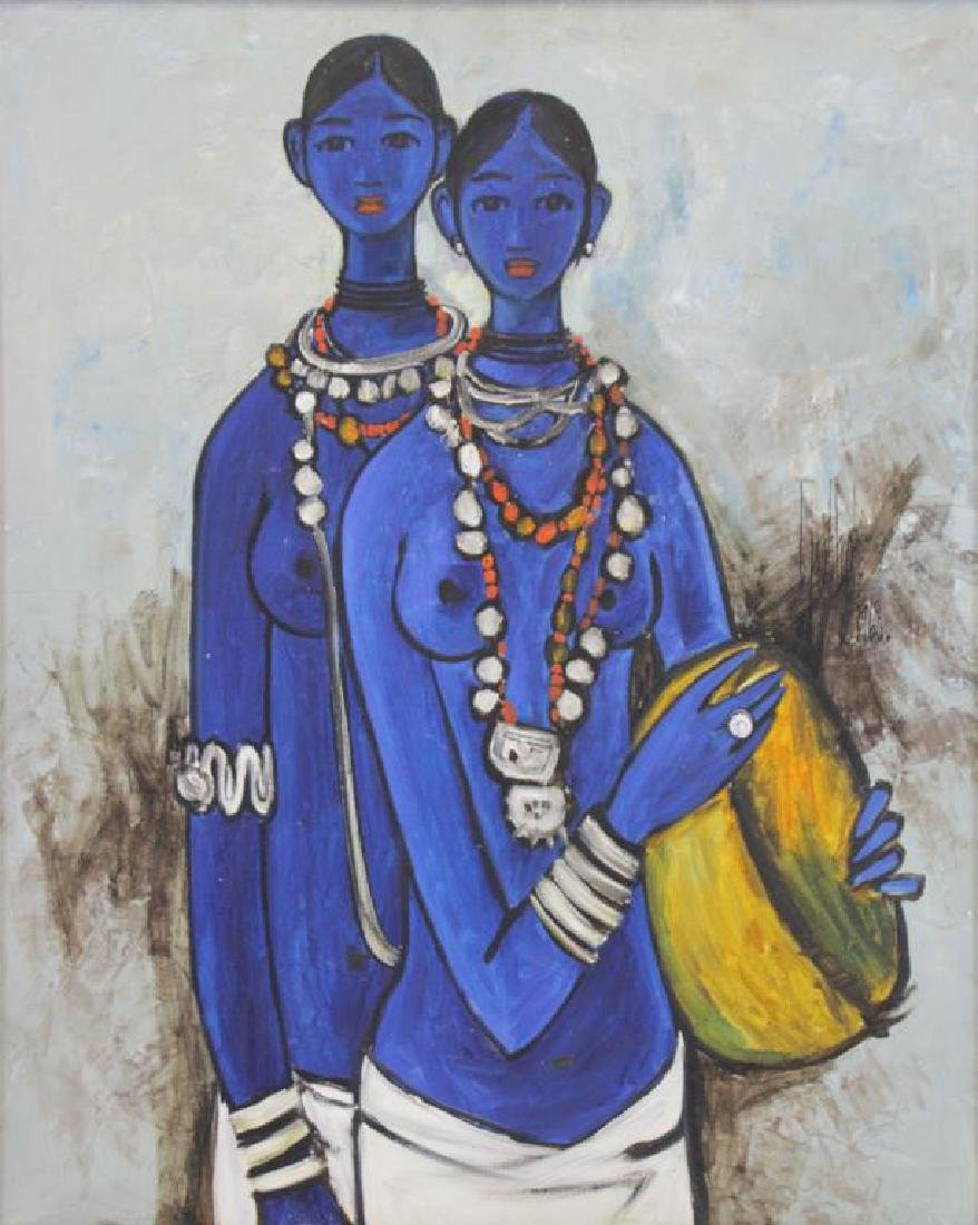 "PRABHA, B. Oil on Canvas ""Sisters"" 1968."