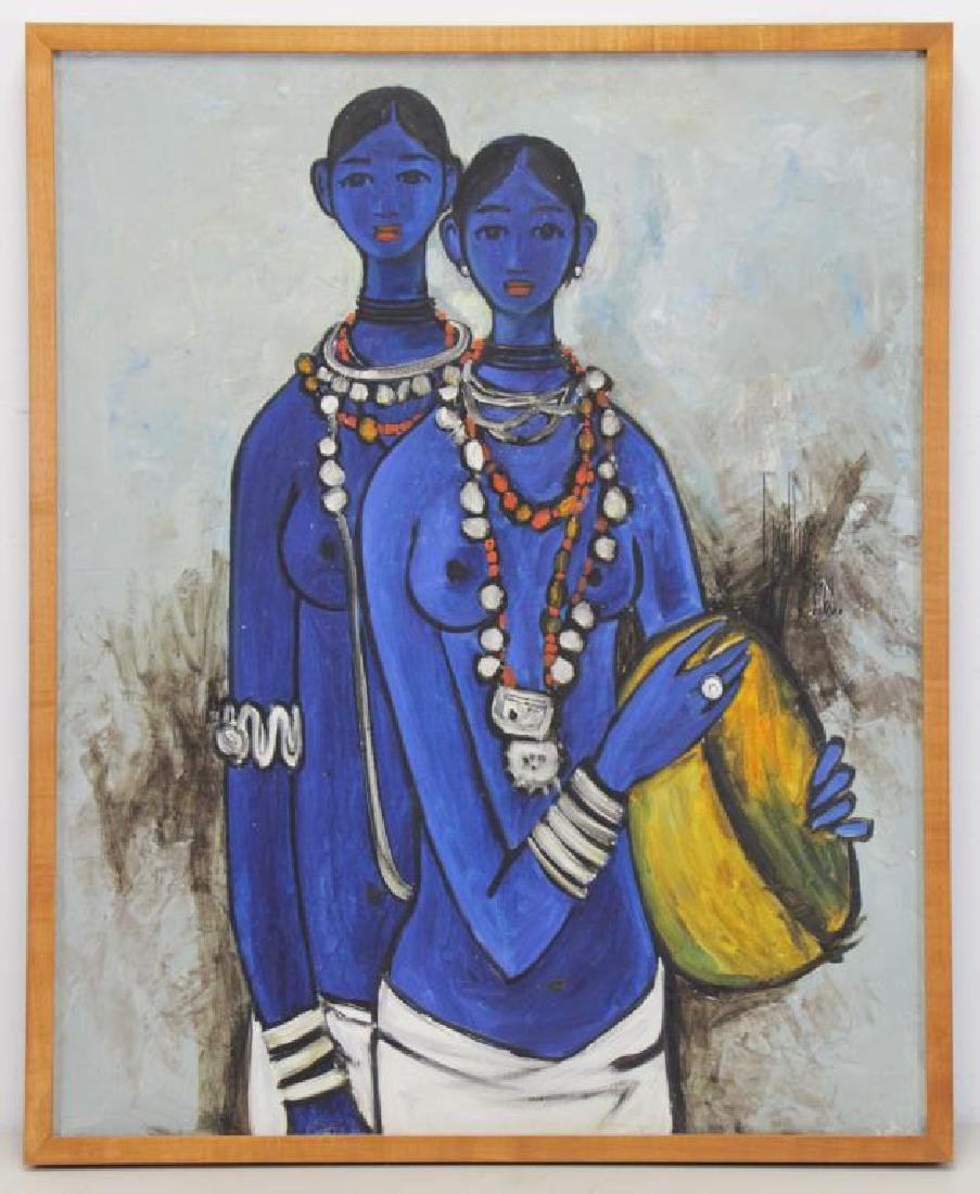"PRABHA, B. Oil on Canvas ""Sisters"" 1968. - 2"