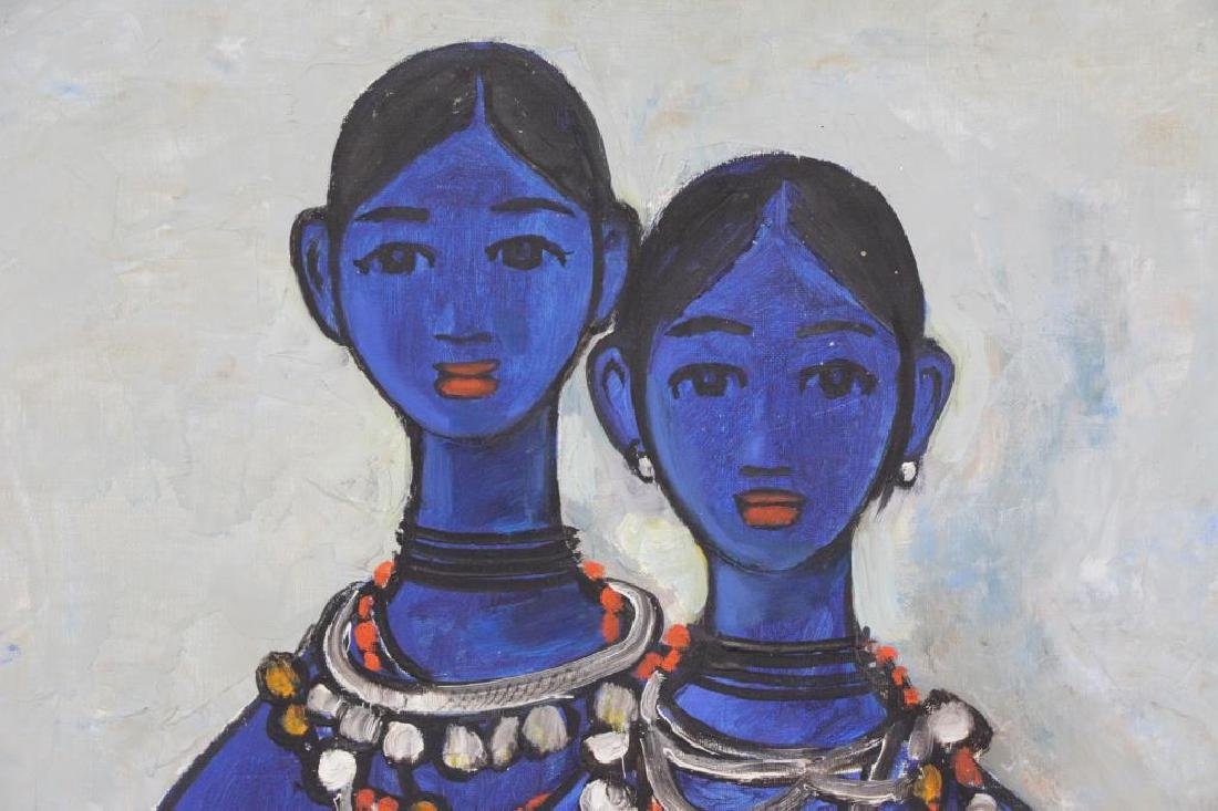 "PRABHA, B. Oil on Canvas ""Sisters"" 1968. - 3"