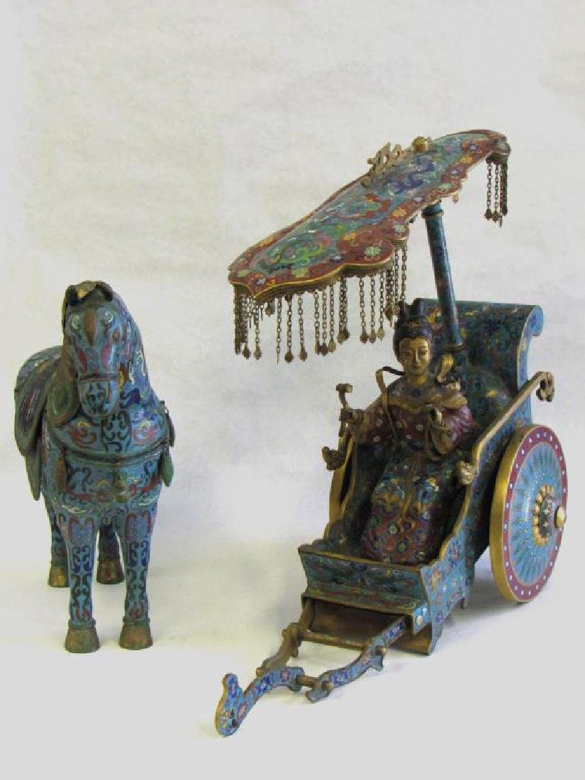 Large Chinese Cloisonne Woman in Chariot.