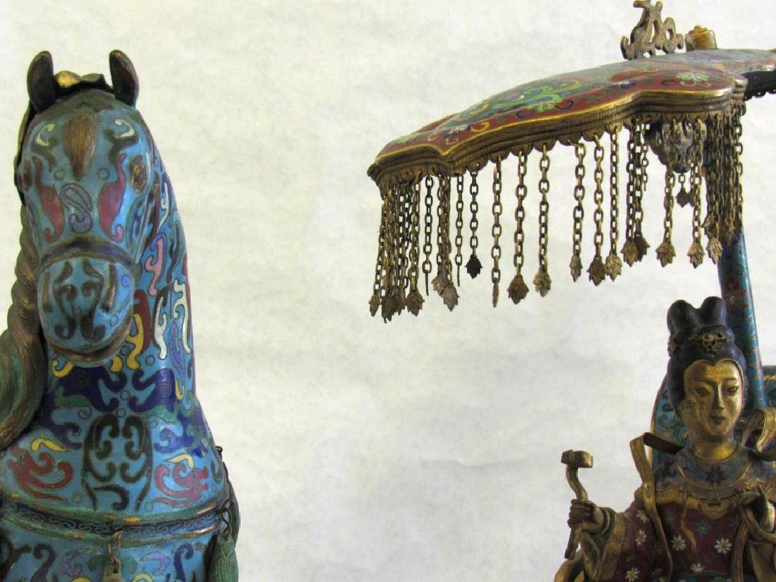 Large Chinese Cloisonne Woman in Chariot. - 2