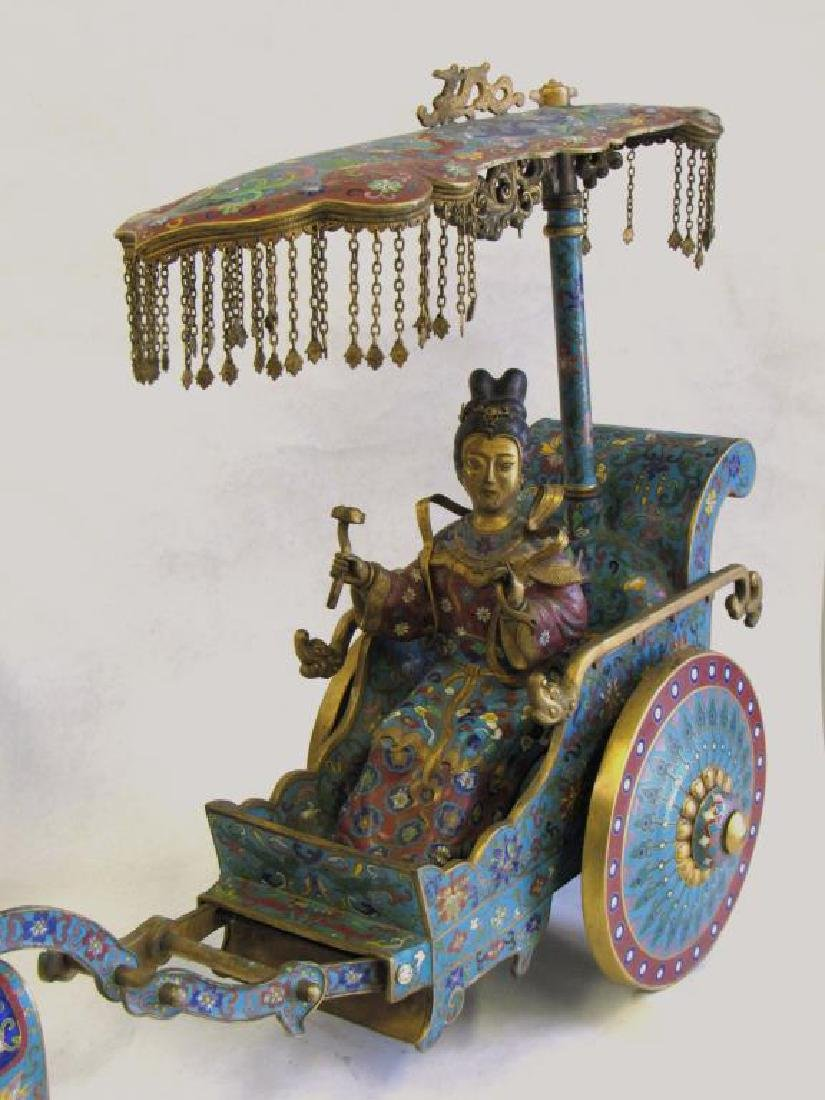 Large Chinese Cloisonne Woman in Chariot. - 3