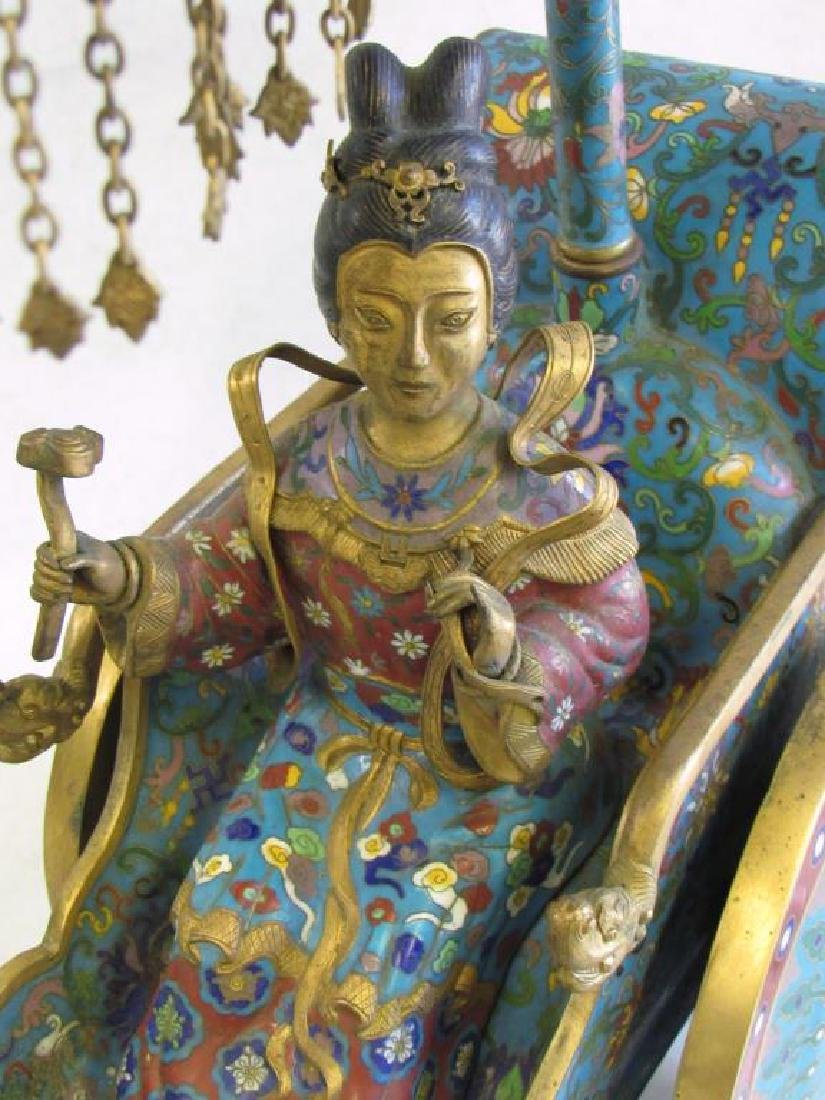 Large Chinese Cloisonne Woman in Chariot. - 4