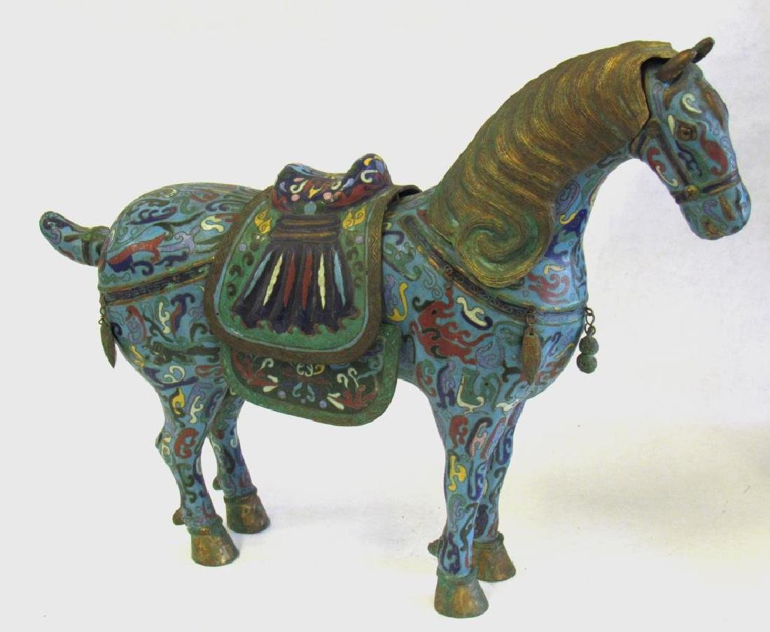 Large Chinese Cloisonne Woman in Chariot. - 5