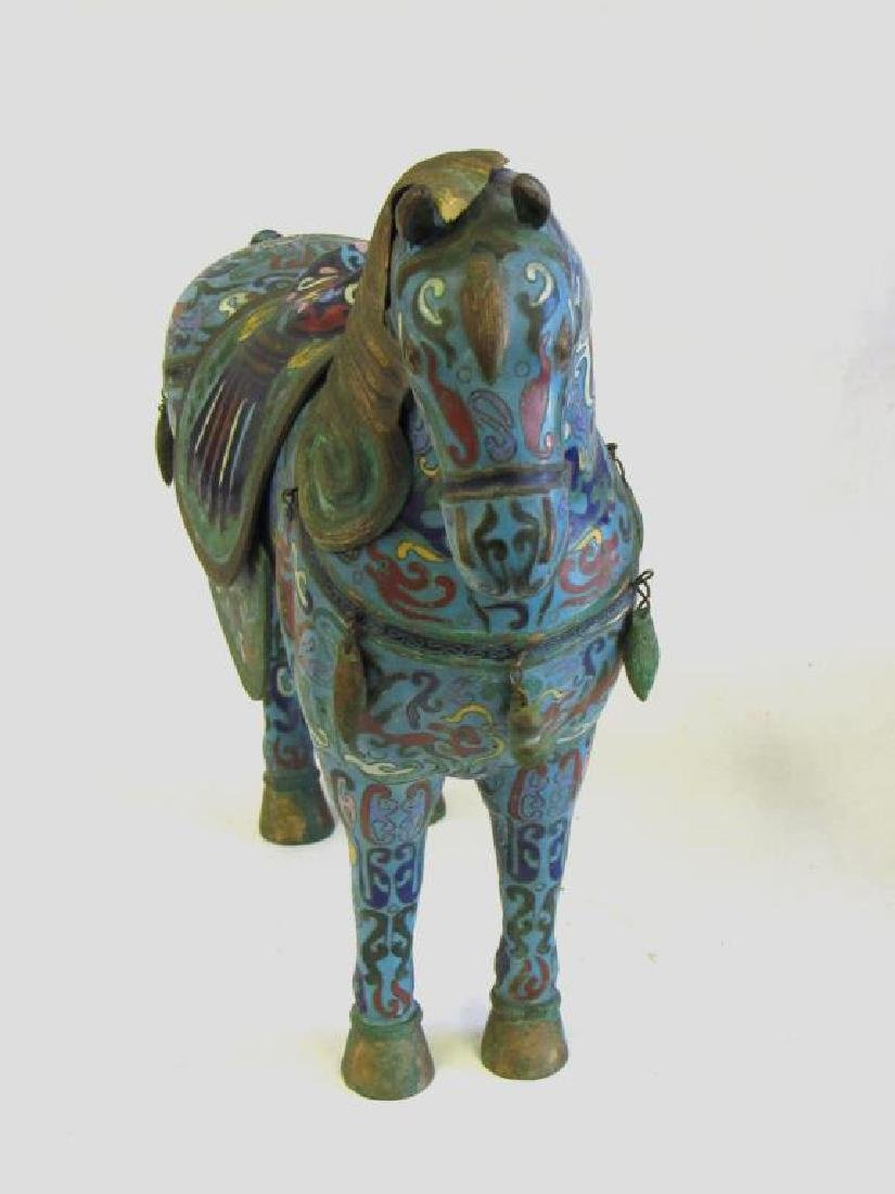 Large Chinese Cloisonne Woman in Chariot. - 6