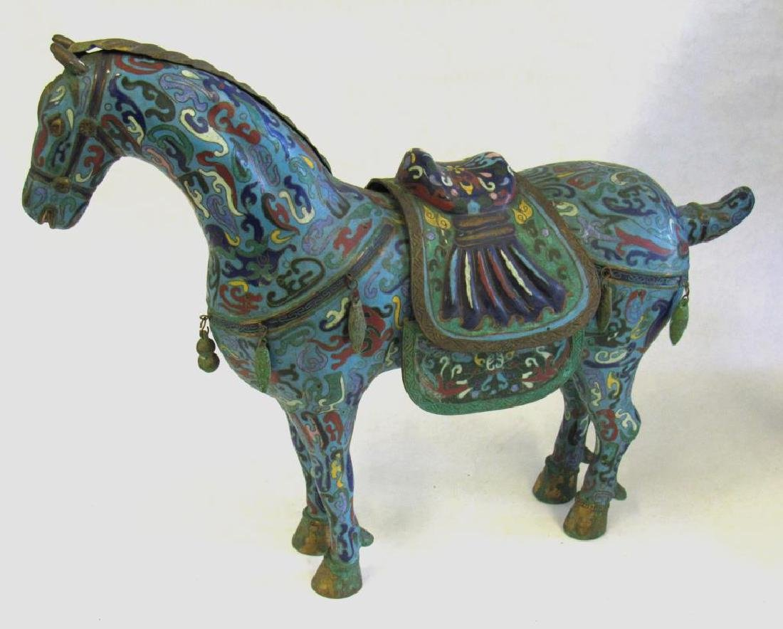 Large Chinese Cloisonne Woman in Chariot. - 7