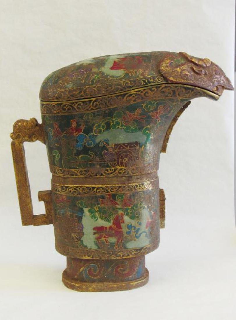 Monumental Stone Painted Wine Vessel (Guang). - 2