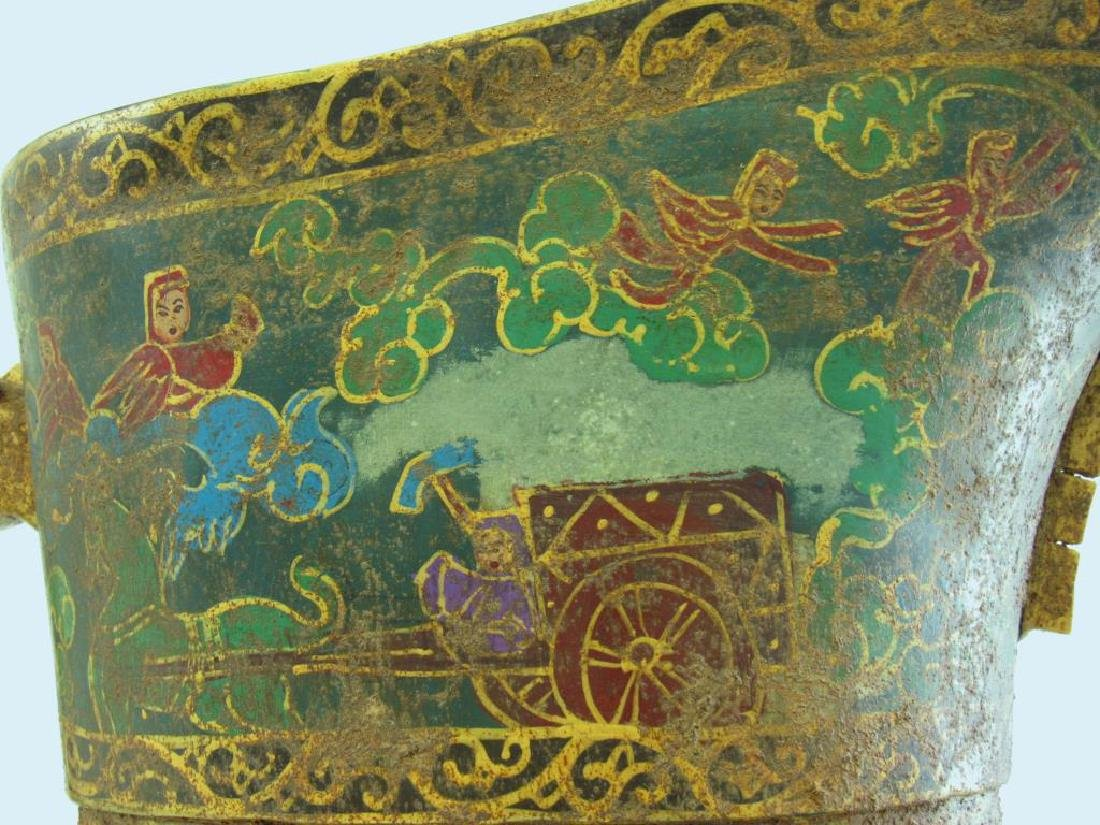 Monumental Stone Painted Wine Vessel (Guang). - 4