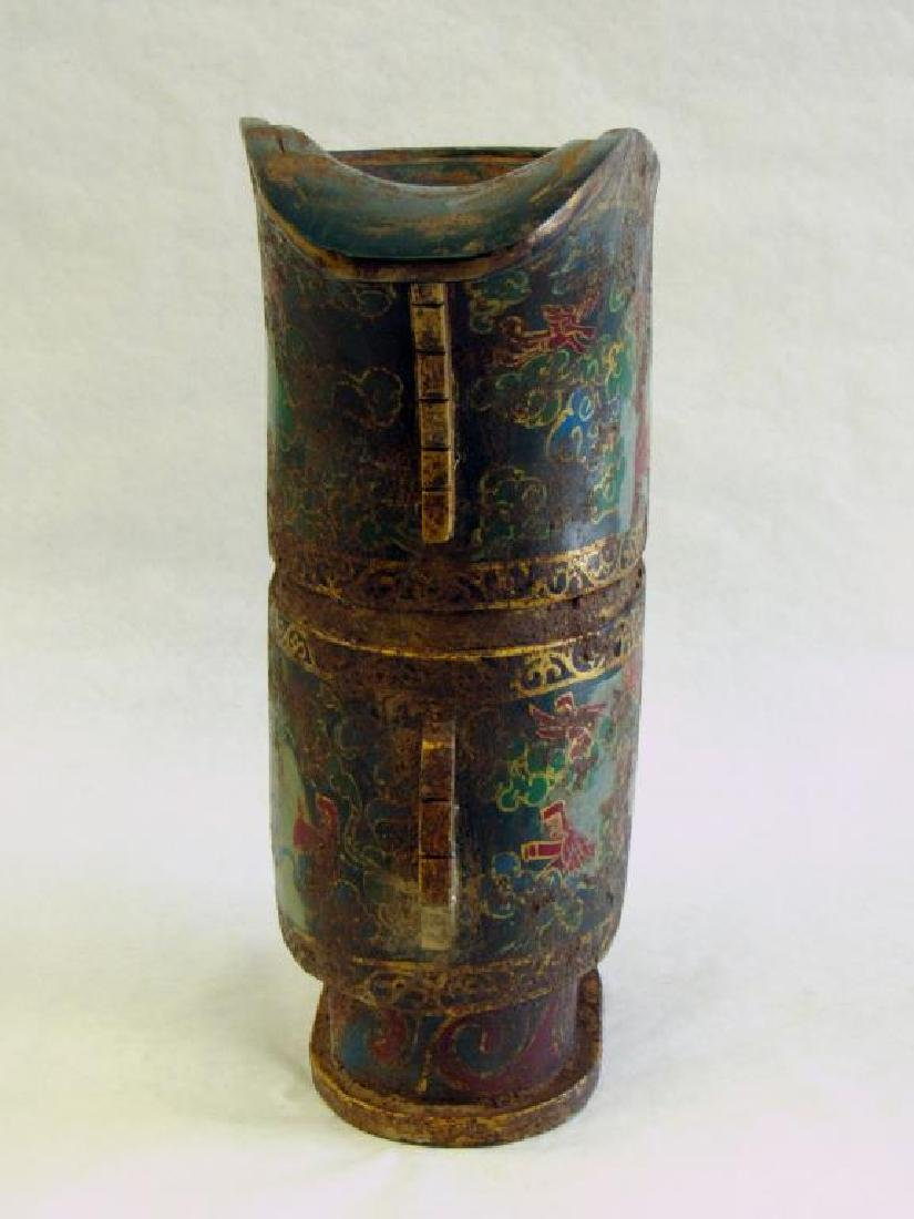 Monumental Stone Painted Wine Vessel (Guang). - 7