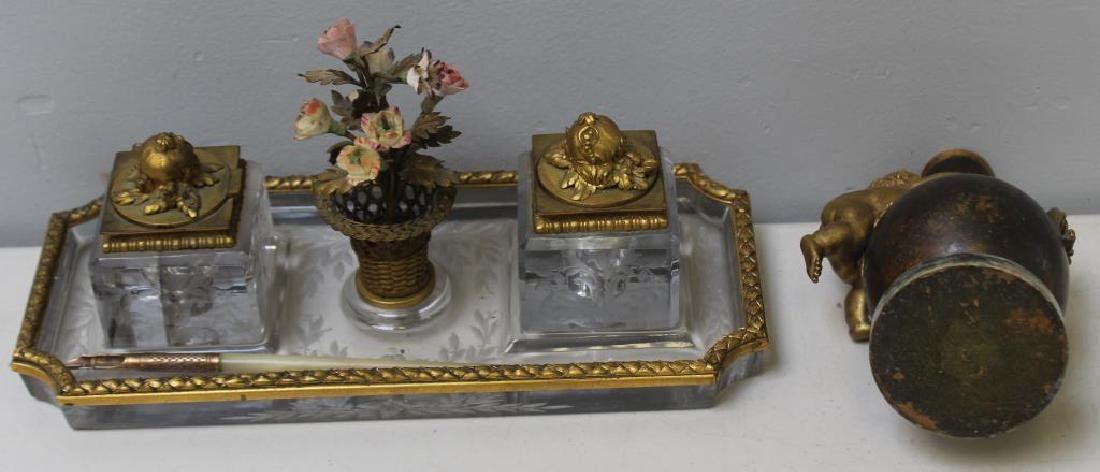Antique Bronze & Glass Inkwell Signed EF Caldwell & Co, - 10