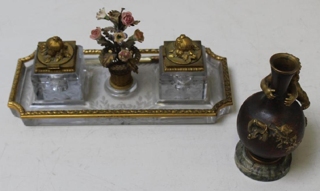 Antique Bronze & Glass Inkwell Signed EF Caldwell & Co,