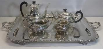 SILVER. 4 Pc. English Silver Tea Service.