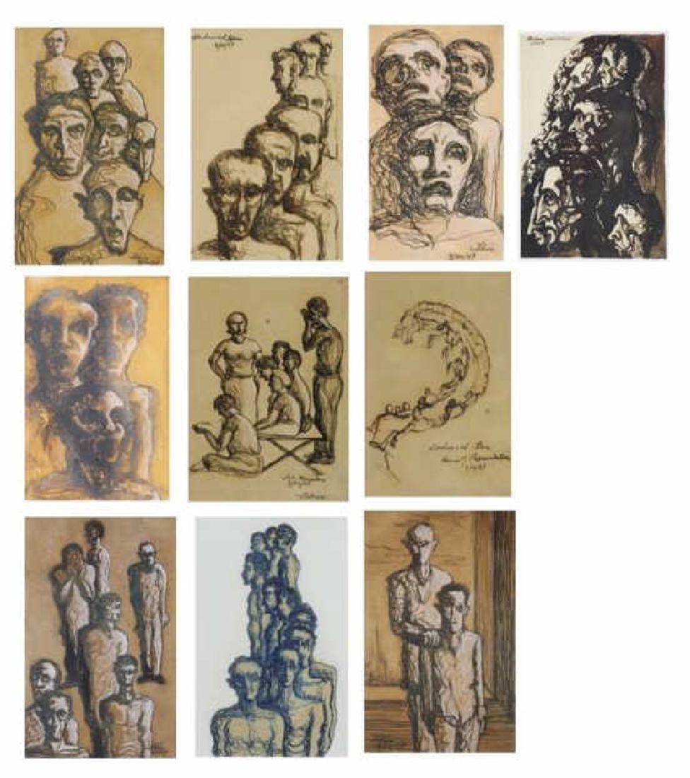 TOBIAS, Abraham. Ten (10) Ink on Paper Drawings of