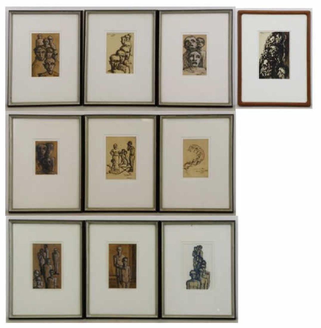 TOBIAS, Abraham. Ten (10) Ink on Paper Drawings of - 2