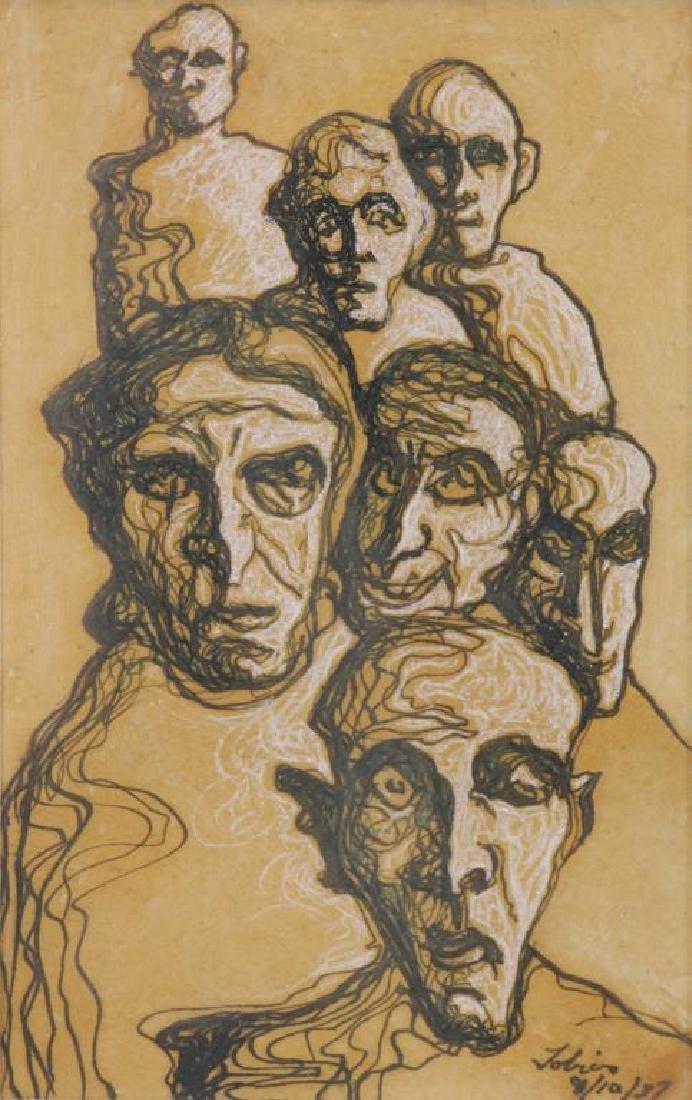 TOBIAS, Abraham. Ten (10) Ink on Paper Drawings of - 3