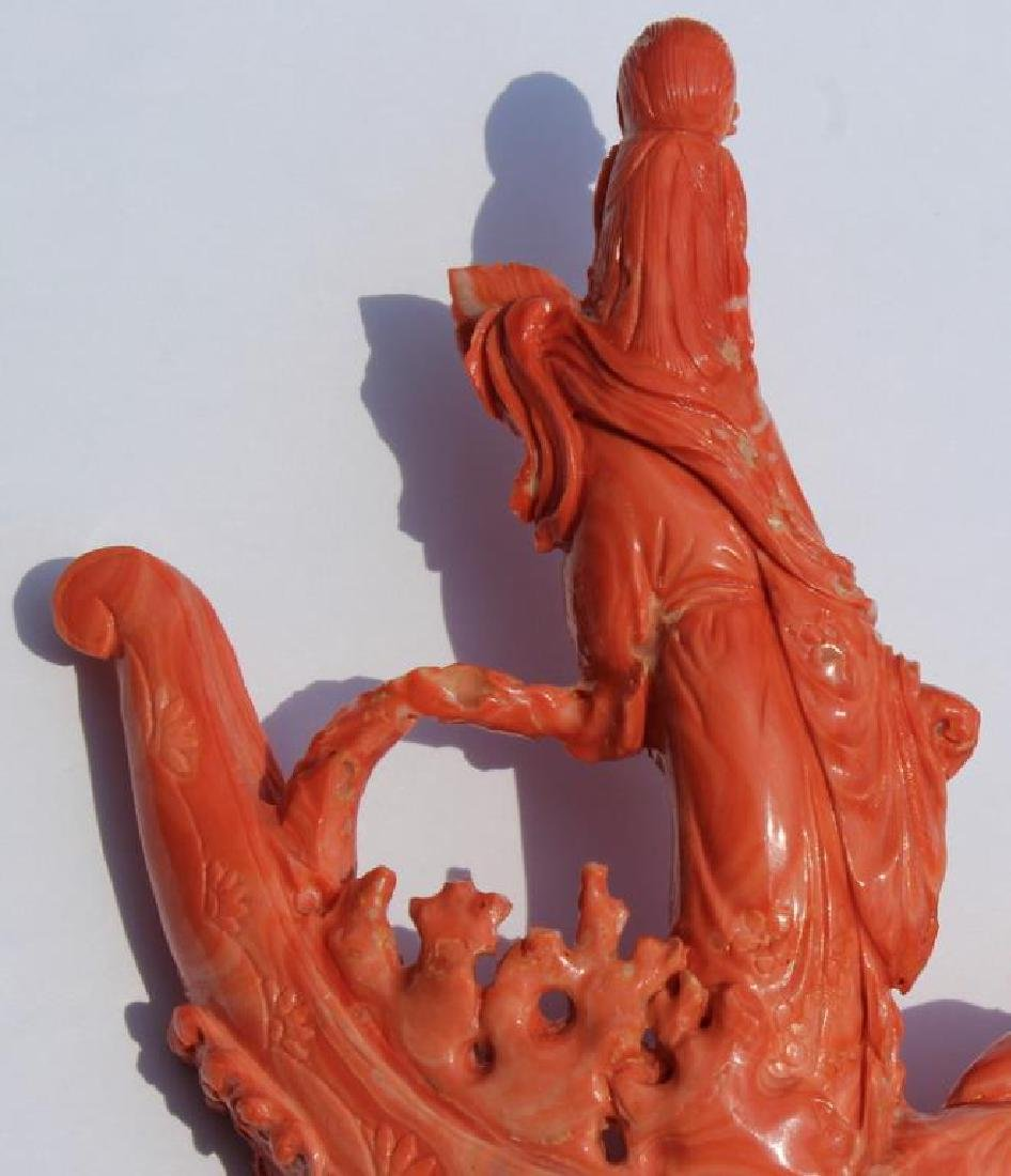 Carved Coral Figural Grouping of Woman and Child - 6