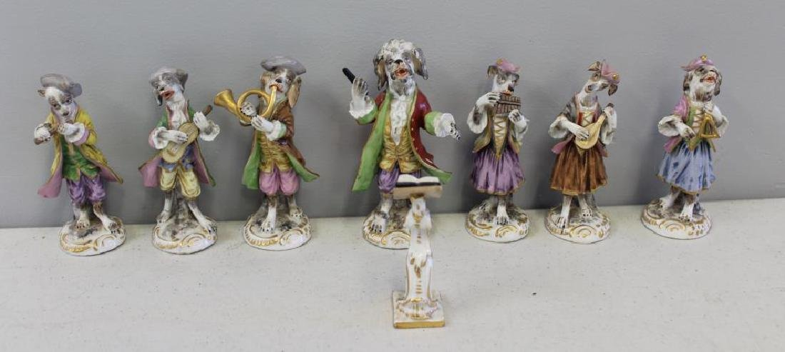 Paris Porcelain ?. 7 Dog Band Figures and The Stand.