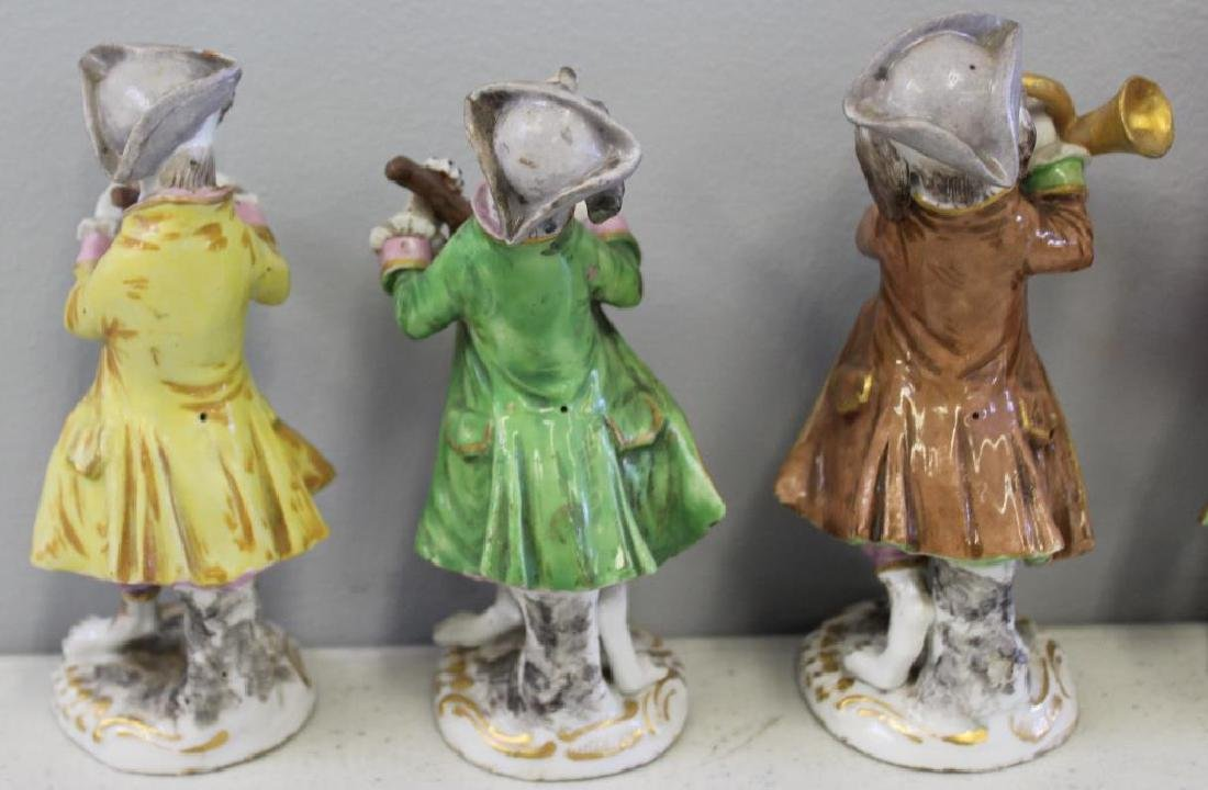 Paris Porcelain ?. 7 Dog Band Figures and The Stand. - 3
