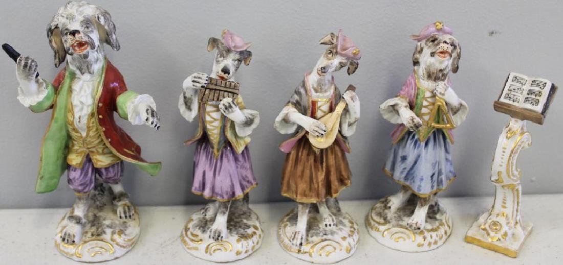 Paris Porcelain ?. 7 Dog Band Figures and The Stand. - 6