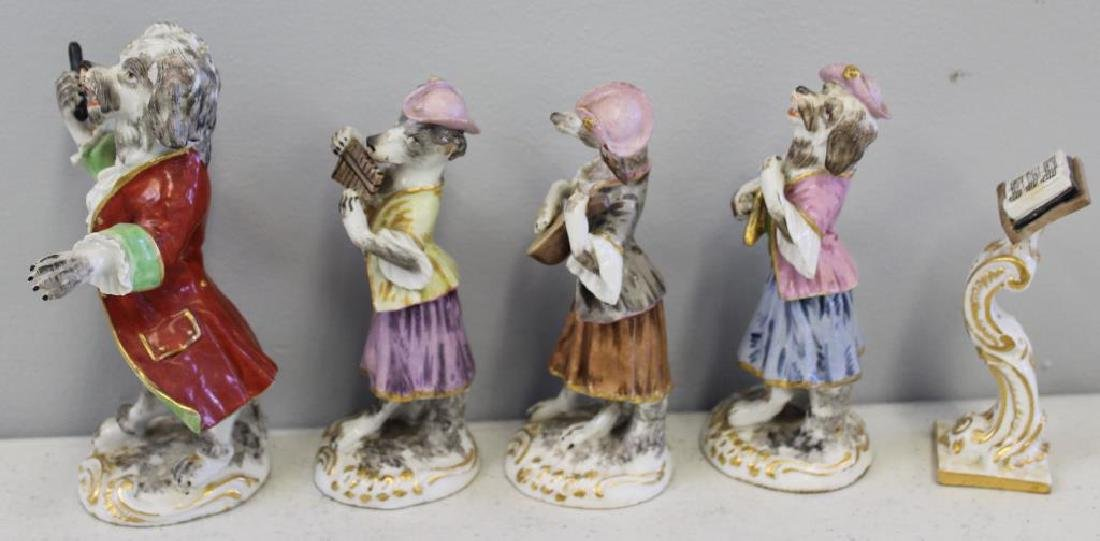 Paris Porcelain ?. 7 Dog Band Figures and The Stand. - 7